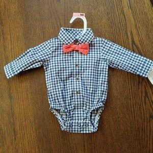 Long sleeve button down shirt onesie & bow tie NB
